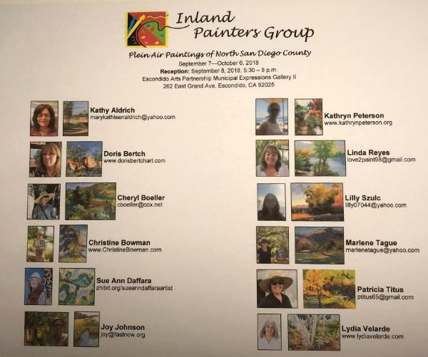 Flyer for the Inland Painters Group Show