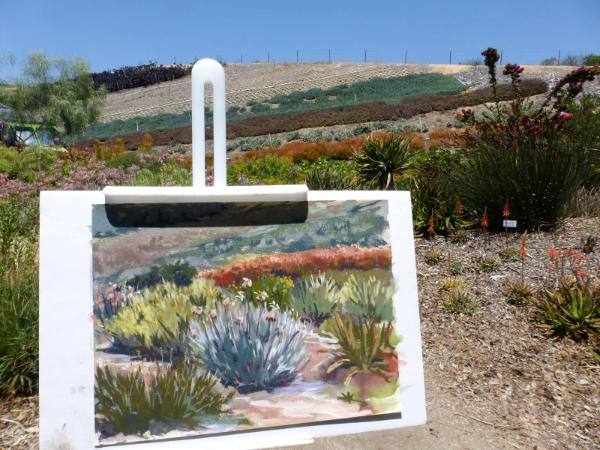 Painting the succulents on the hillside