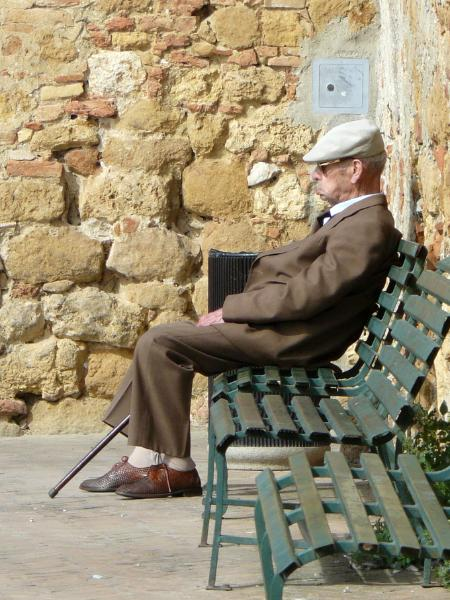 Old man in Pienza Italy
