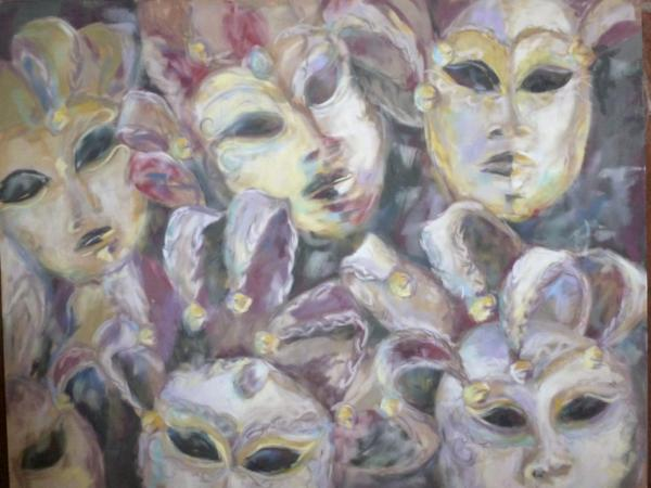 Masks - pastel on suede matboard