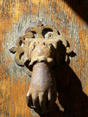 Iron hand door knocker Vezelay France