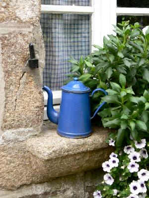 Blue pot on window France