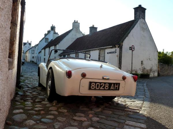 White car in Culross Scotland