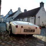 White car in Culross Scotland
