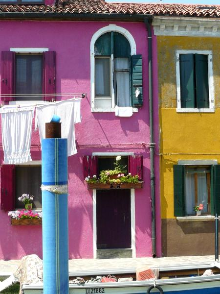 Pink and Yellow Houses Burano Italy